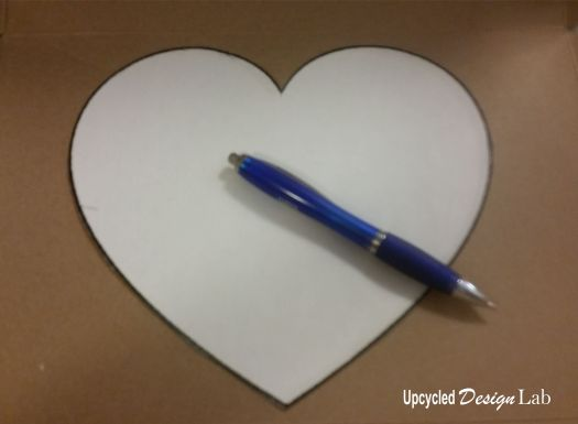 Trace heart shape onto cereal box