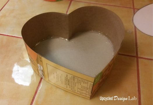 Bottom of upcycled heart shaped box