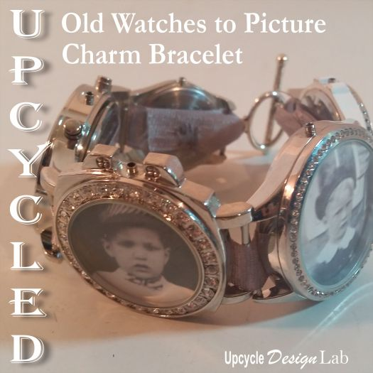 upcycled picture charm bracelet made from old watches