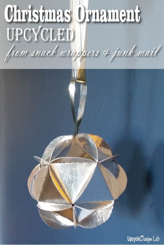 Christmas Ornament Upcycled from snack wrappers and junk mail
