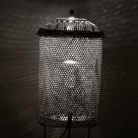 Colander cylinder lamp with filtered light