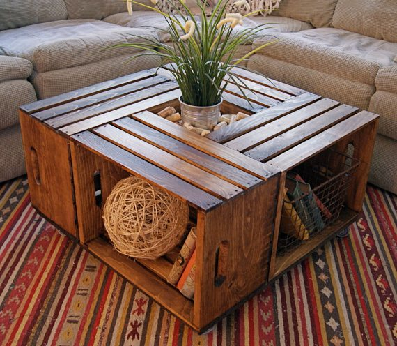 wooden crate coffee table Crate Coffee Table | Upcycle That wooden crate coffee table