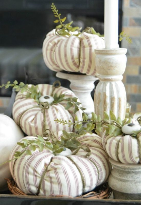 Fabric pumpkins with cabinet knob
