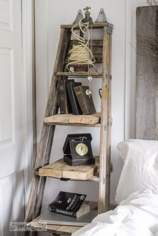 ladder shelf ideas upcycle that. Black Bedroom Furniture Sets. Home Design Ideas