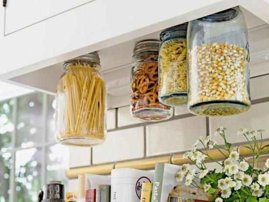 Kitchen Organization Ideas - Hanging Mason Jars