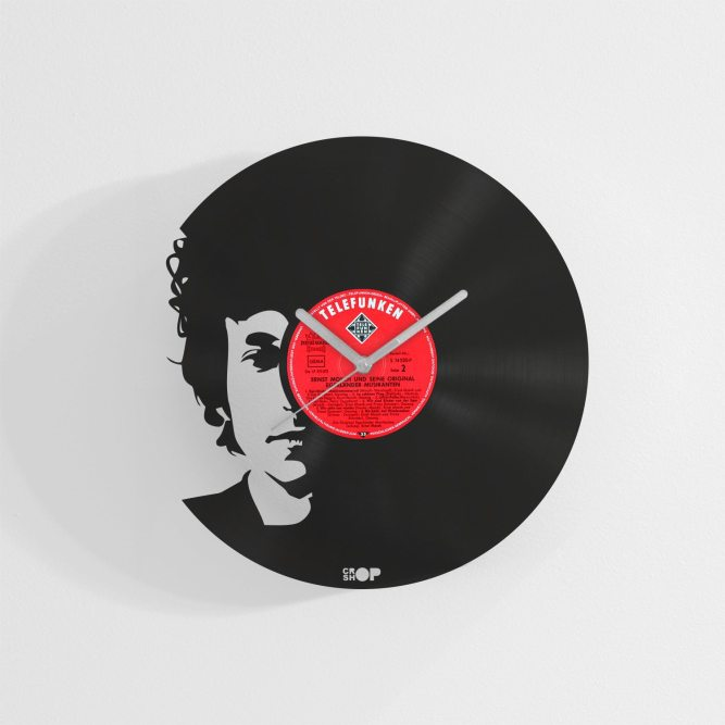 Bob Dylan wall clock from upcycled vinyl record (LP)