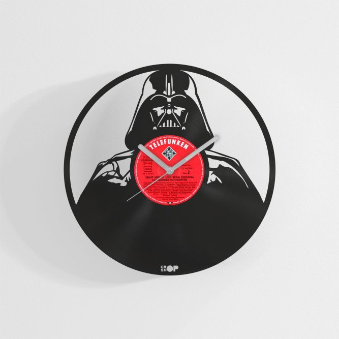 Darth Vader wall clock from upcycled vinyl record (LP)