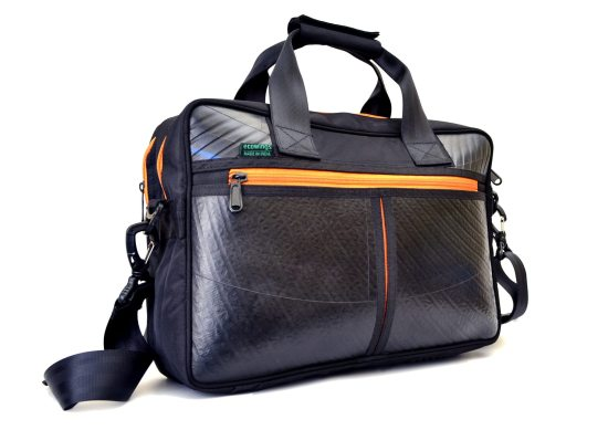 Vegan leather laptop bag – Orange Zip