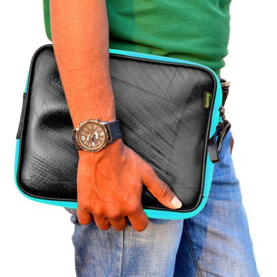 Swan iPad Case (Turquoise Zip)