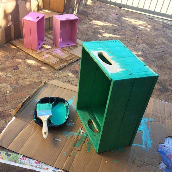 Painting crate shelves