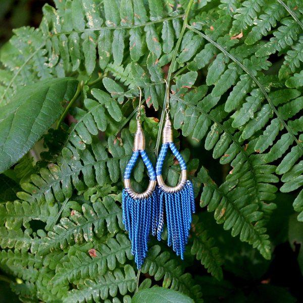 Flip flop earrings - blue/gold