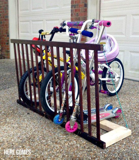 Repurposed crib - bike rack