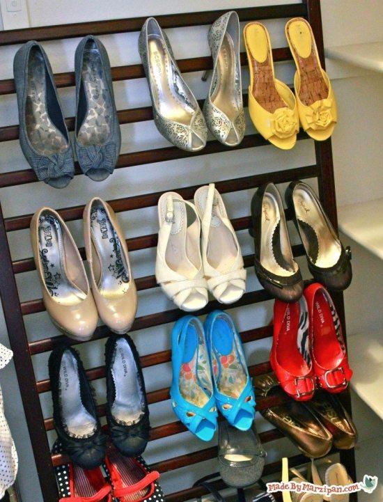 Repurposed crib - shoe storage