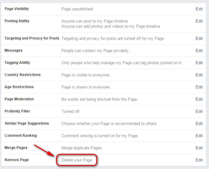 How to delete a Facebook Business Fan Page