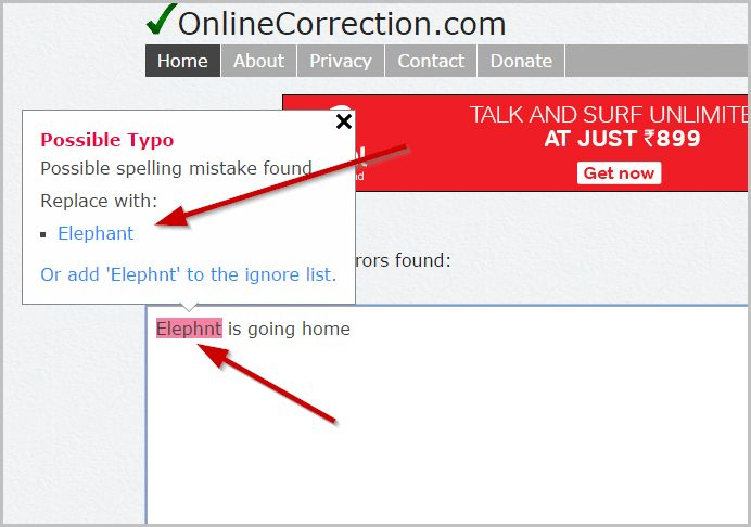 Online-Correction