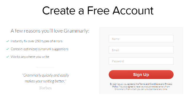 grammarly signup