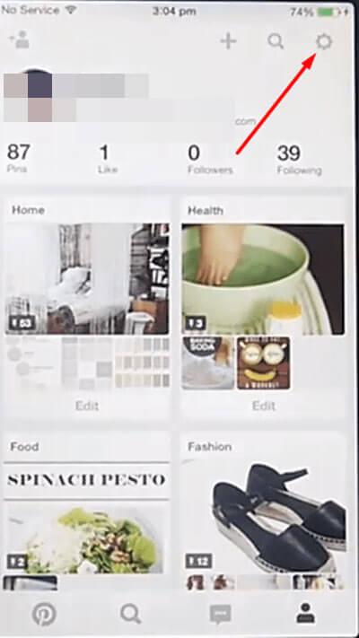 Pinterest account setting