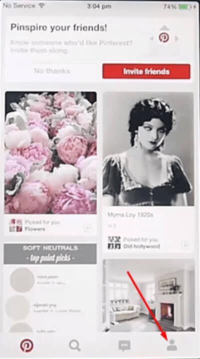 Pinterest profile icon on iPhone