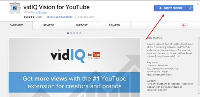 VidIQ on Chrome