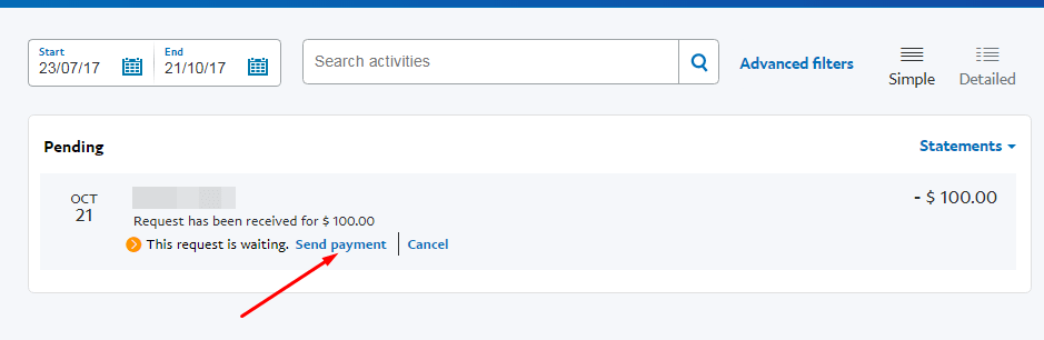 Send Payment option