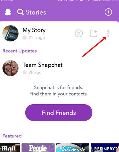 three dots next to My Story