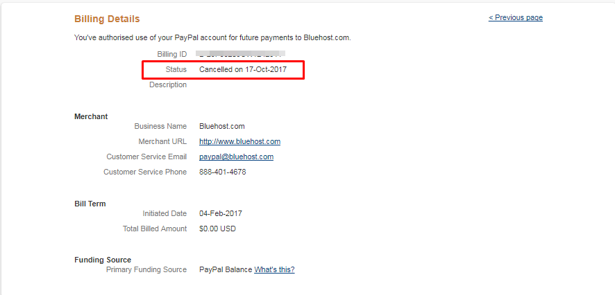 verify the recurring payment cancellation