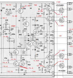 stereo 410 schematic with annotated values and voltages [ 1644 x 852 Pixel ]
