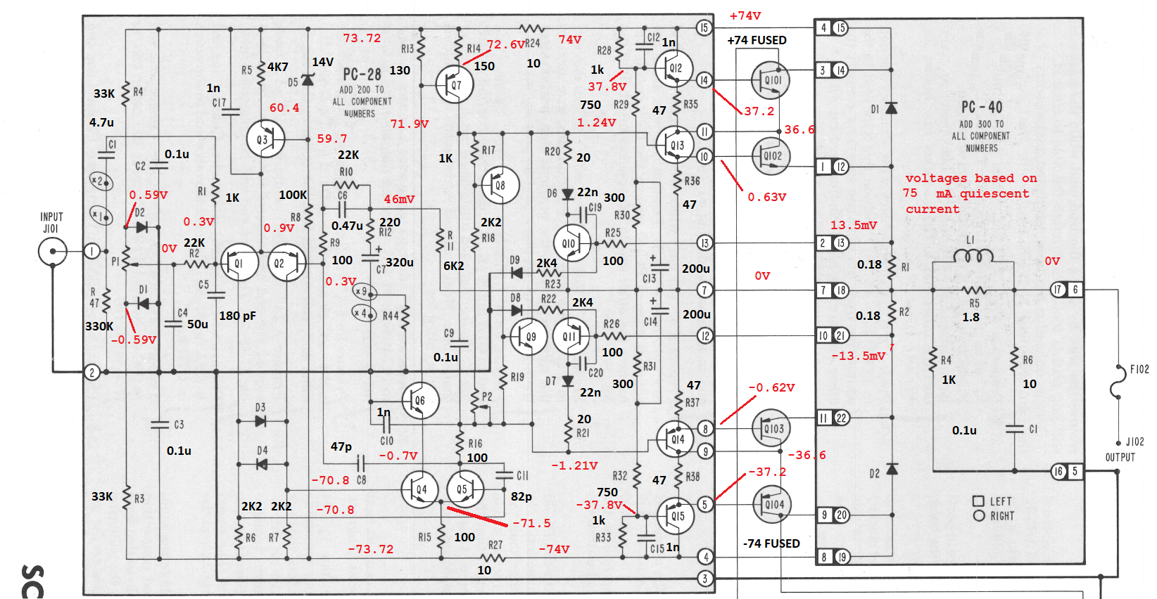 hight resolution of stereo 410 schematic with annotated values and voltages