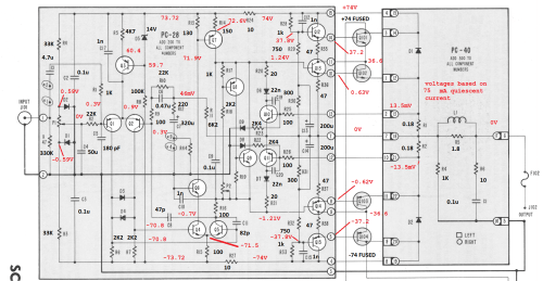small resolution of stereo 410 schematic with annotated values and voltages