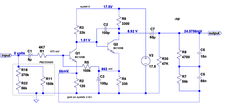 medium resolution of the pat 4 pages phono preamp schematic with dc bias voltages annotated