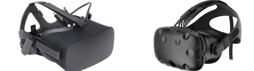The two name brand Virtual Reality Headsets. The Oculus Rift and HTC Vive.