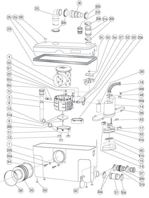 saniflo spare parts list