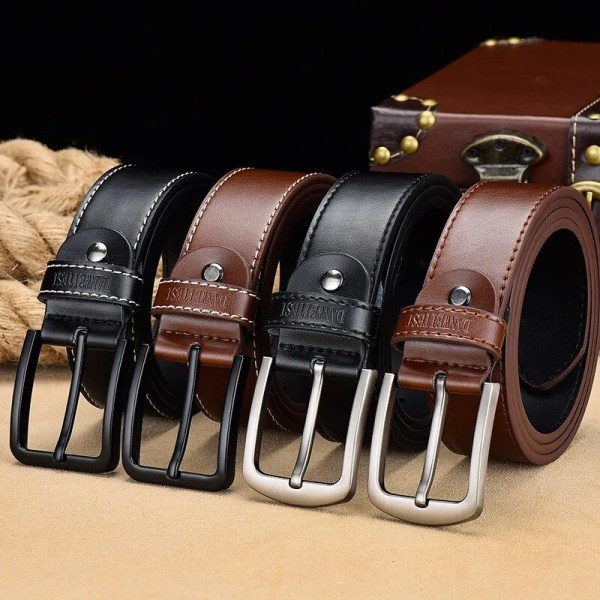 Men's Genuine Leather Belt with Luxury Pin Buckle 2