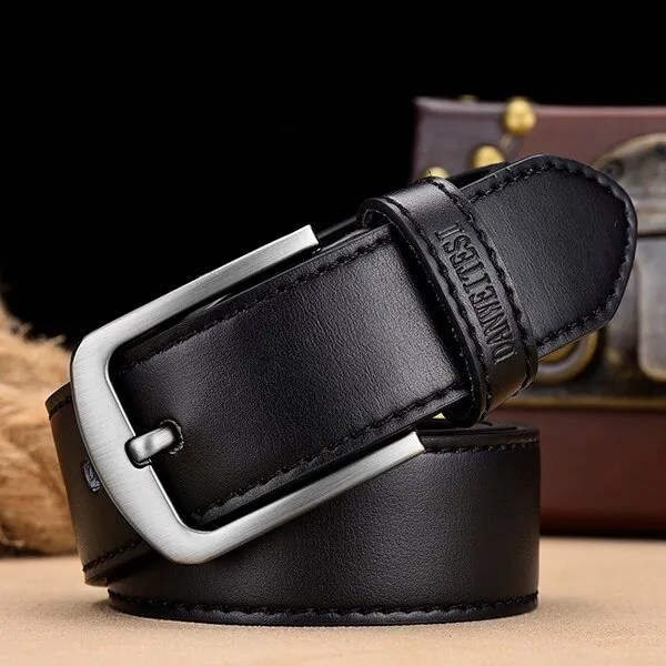 Men's Genuine Leather Belt with Luxury Pin Buckle 9