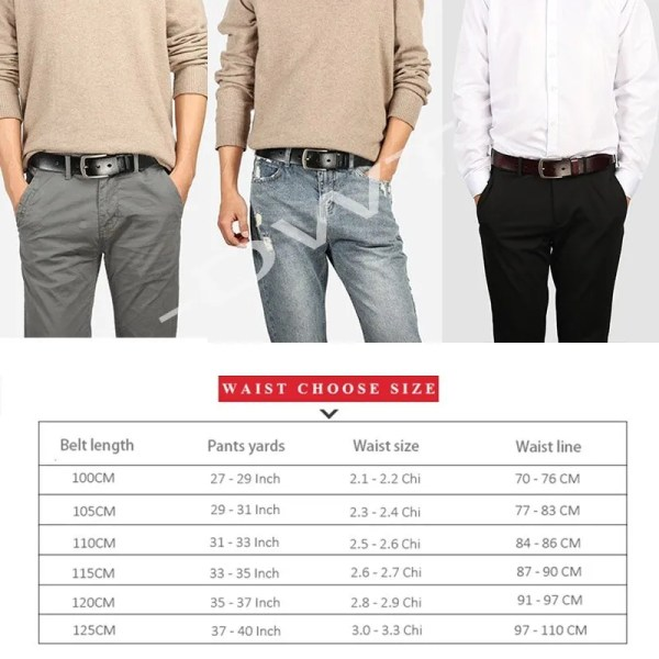 Men Genuine Leather Jeans Belt 6