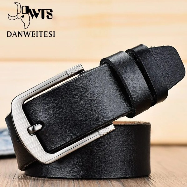 Men's Genuine Leather Fashion Belt with Pin Buckle 2