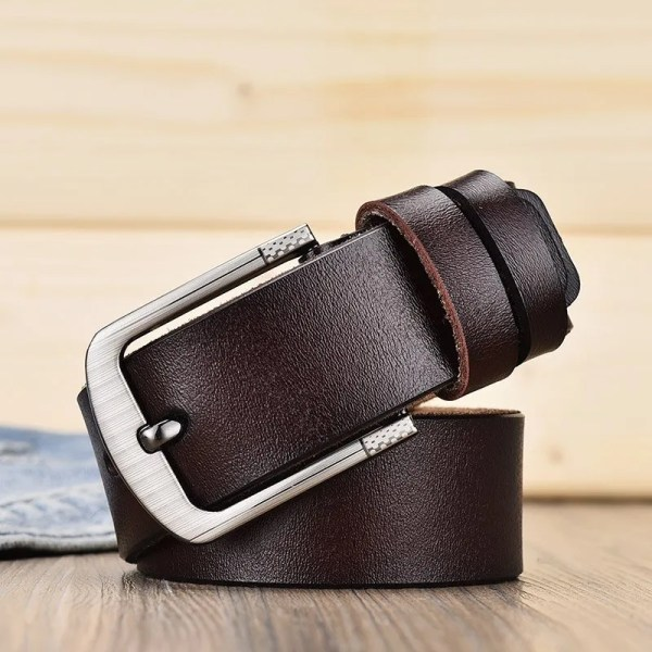Men's Genuine Leather Fashion Belt with Pin Buckle 7