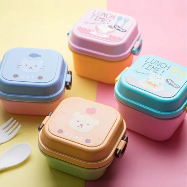 Children Cartoon Style Healthy Plastic Microwave Lunch Box 3