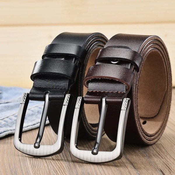 Men's Genuine Leather Fashion Belt with Pin Buckle 4