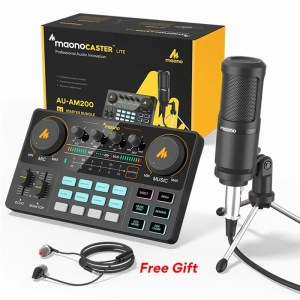 Podcasting Set with Audio Interface and Condenser Microphone