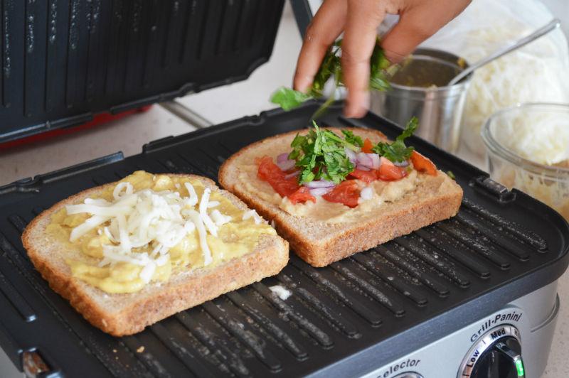 Layering veggies to the sandwich