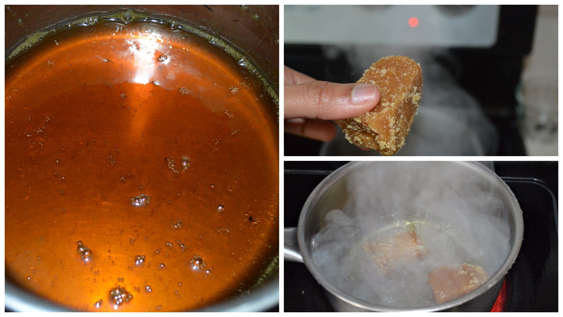 Making Jaggery syrup