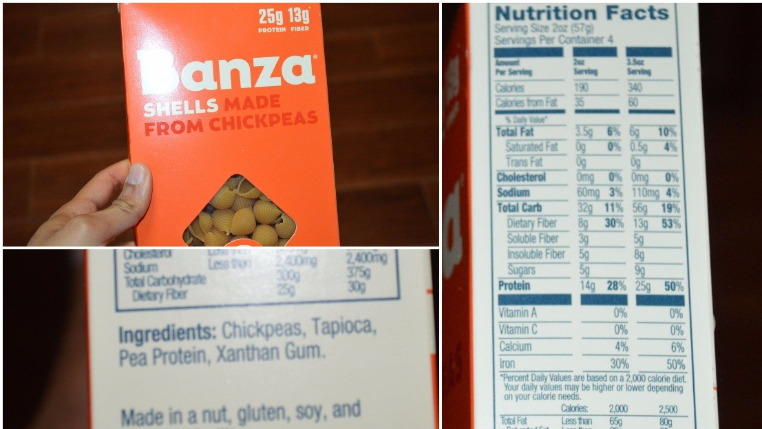 Banza ingredients, nutritional info