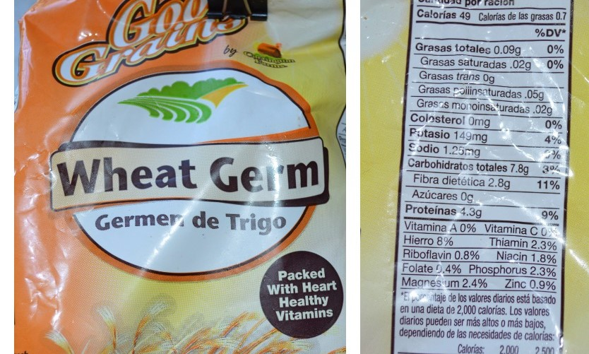 Wheat germ packet and nutrition