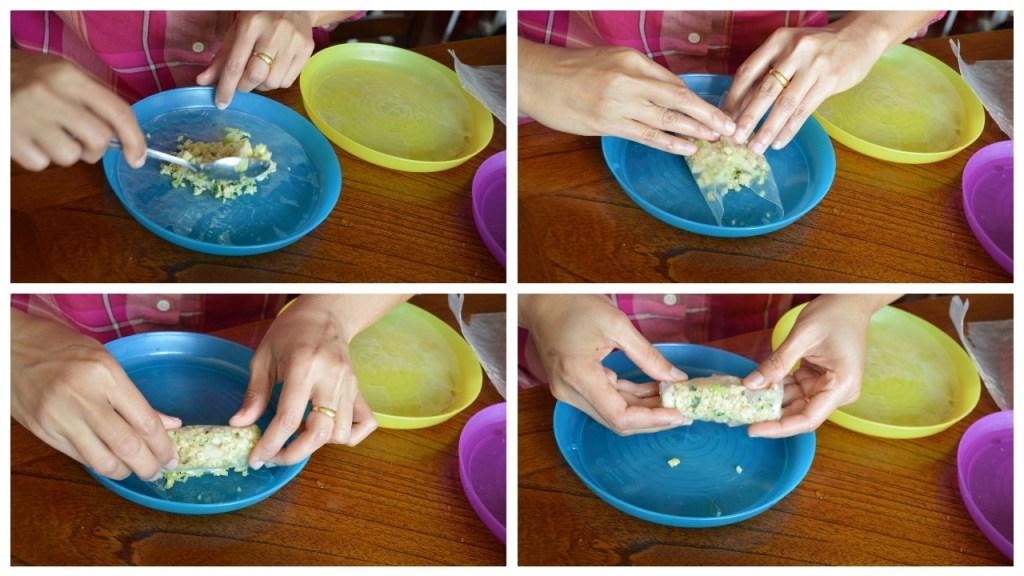 Making kara kozhukattai using rice wrappers