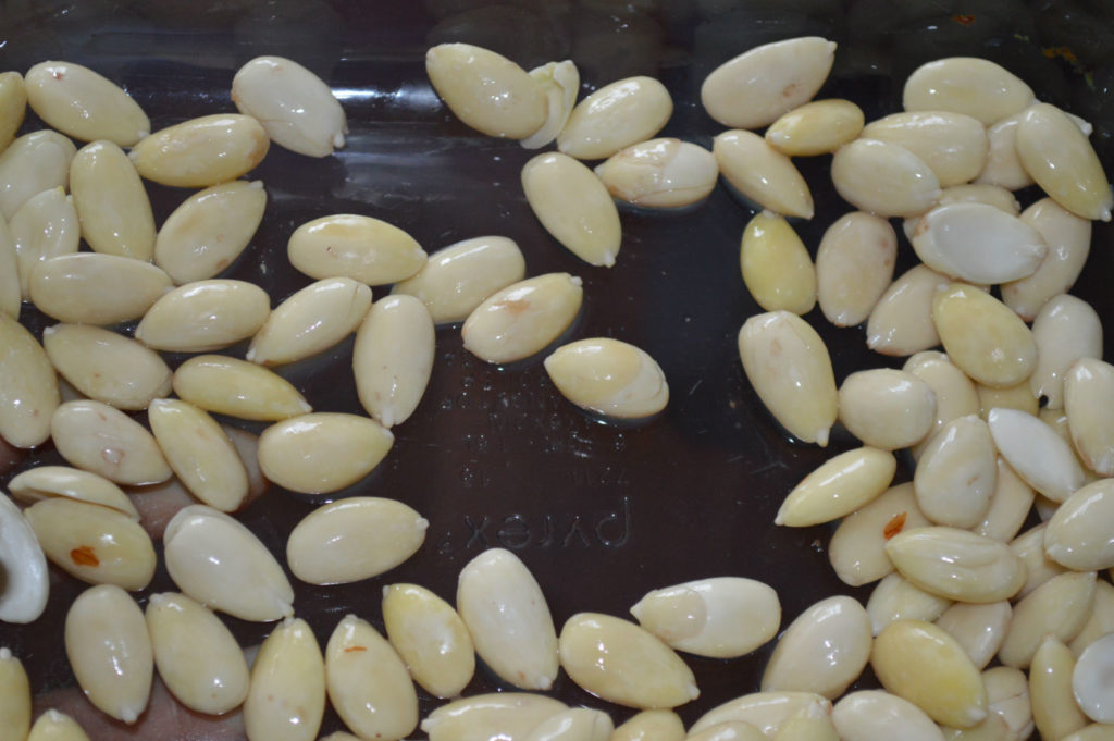 soaked and peeled almonds