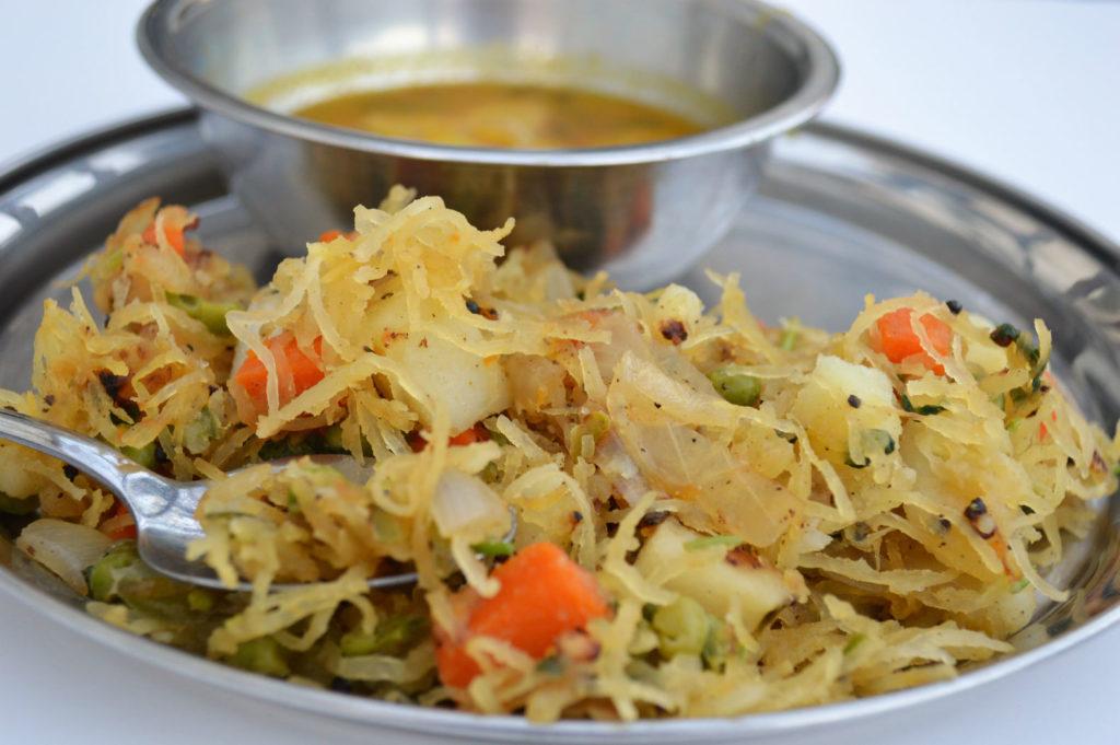 Spaghetti Squash Semiya Upma Stir Fry Recipe