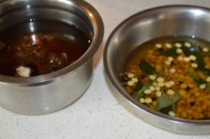 Soak lentils and spices for rasam