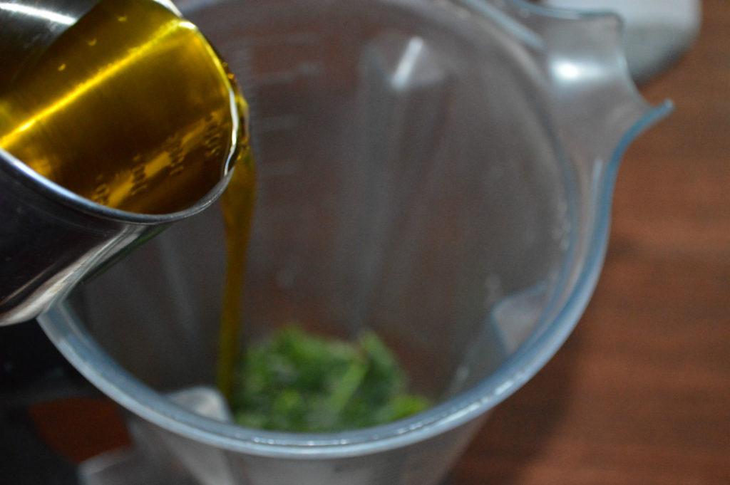 Add olive oil, other wet ingrediens to blender