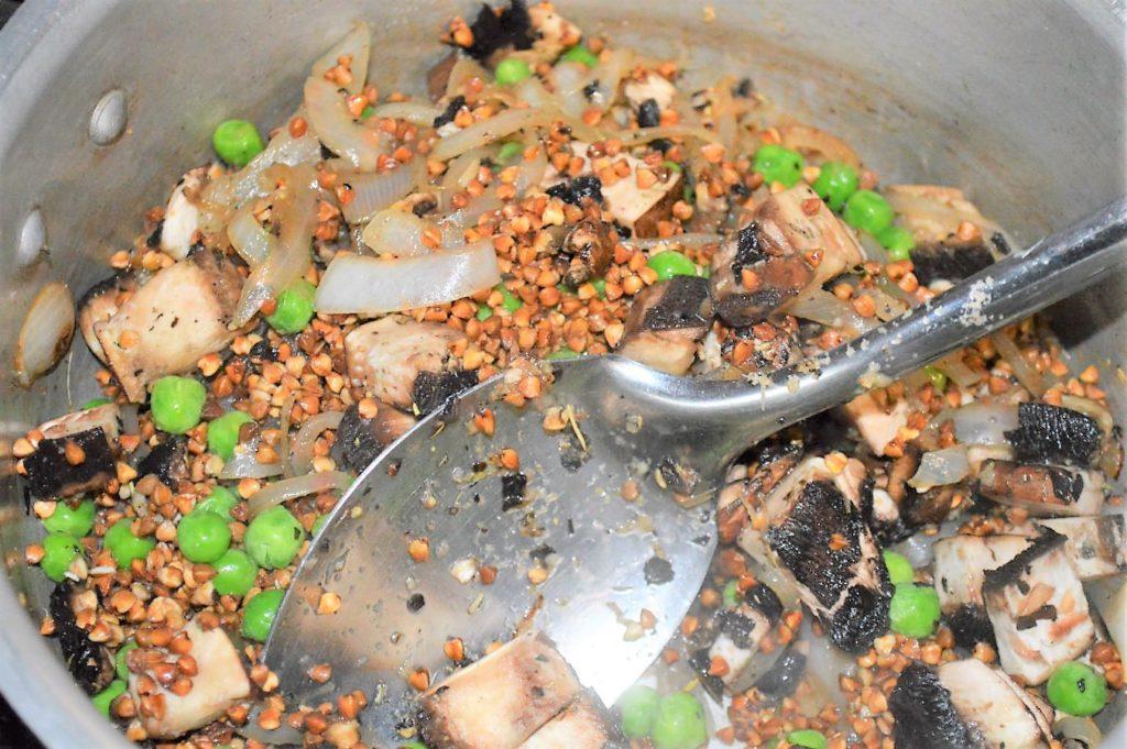 Saute buckwheat, mushroom